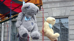 Hanged Teddy Bears Stock Footage