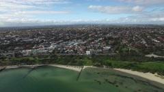 Aerial horizontal round pan across Sandringham suburb. Melbourne, Australia Stock Footage