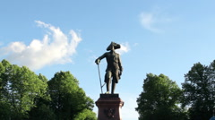 Monument to Russian Emperor Pavel I in Pavlovsk Stock Footage