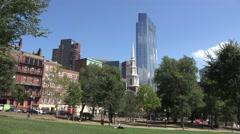 View towards Park Street Church from Boston Common, Boston, MA. Stock Footage