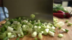 Slow Motion Chop Greens Stock Footage