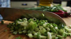 Slow Motion Chopped Greens Stock Footage
