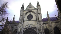Ancient Gothic architecture, famous Saint Andre Cathedral in Bordeaux, France Stock Footage