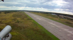 Helicopter flight. Aerial view of runway Stock Footage