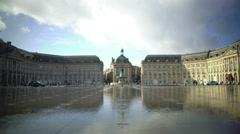Magnificent view on Place de la Bourse in Bordeaux city, traffic in the street Stock Footage