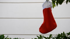 Xmass red sock on the tree Stock Footage