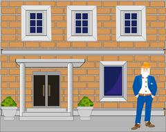 Building from brick Stock Illustration