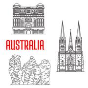 Australian travel landmarks, thin line style Stock Illustration