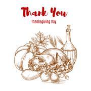 Thanksgiving autumn harvest sketch decoration Stock Illustration