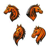 Tribal wild horse or mustang head icon set Stock Illustration
