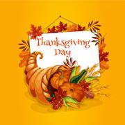 Thanksgiving cornucopia plenty horn greeting card Stock Illustration