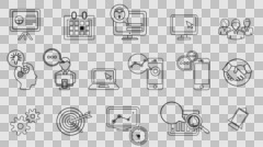 Business and Startup Line Icons. 4K Alpha Channel Stock Footage