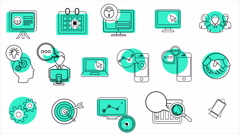 Business and Startup Line Icons. 4K Stock Footage