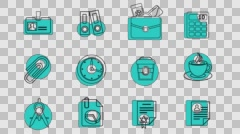 Business and Office Line Icons. 4K Alpha Channel Stock Footage