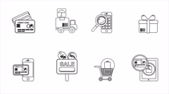 Business and Sales Line Icons. 4K Stock Footage