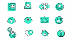 Business and Office Line Icons. 4K Stock Footage