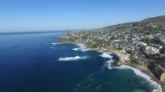 Laguna Beach California Coastline Aerial Stock Footage