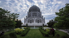 Baha'i Temple at Sunset with Clouds and Fountain Stock Footage