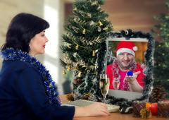 Marriage proposal on Christmas Eve Stock Photos