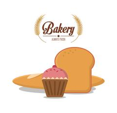 Muffin and bread of bakery design Stock Illustration