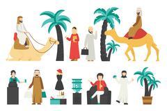 Dubai flat set. Isolated On White Background, People Vector Illustration Piirros