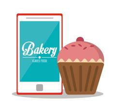 Muffin and smartphone of bakery design Stock Illustration