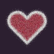 Valentine s Day symbol. Heart. Silver sparkles and glitter Vector Piirros