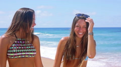 Identical Teen Twin Sisters Laughing At The Beach Stock Footage