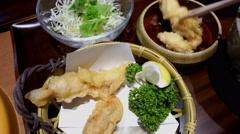 Eating vegetable tempura Japanese Food at restaurant, 4K Arkistovideo