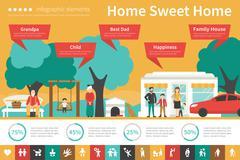 Home Sweet infographic flat vector illustration. Presentation Concept Stock Illustration
