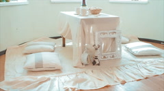 Holiday Table With Pillows in the Room Stock Footage