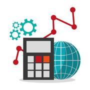 Calculator global and social media design Stock Illustration