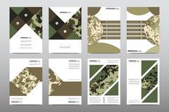 Set of Veterans Day brochure, poster templates in khaki style. Beautiful design Stock Illustration
