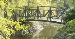 Yellow leaves on trees over lake with wooden bridge Stock Footage