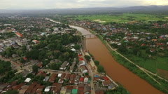 Aerial view from above city of Nan province Stock Footage