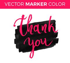 Thank you card, ink hand lettering. Abstract marker shape. Stock Illustration
