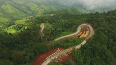 Aerial View Above Misty Mountain Road Stock Footage