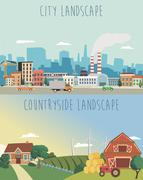 Vector set of urban and countryside landscapes. Big city and village farm ill Stock Illustration