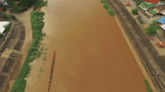 Aerial View of Long Tail Boat Practicing on the Nan River Stock Footage