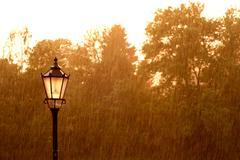 Street lamp in the rain Stock Photos