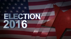Election 2016 3D Motion Graphics With American Flag Background Looping Stock Footage