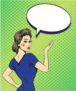 Pop art retro style woman point hand sign with speech bubble. Comic hand draw Stock Illustration