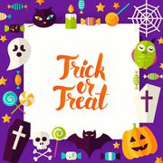 Trick or Treat Paper Template Stock Illustration