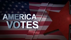 America Votes 3D Motion Graphics With American Flag Background Looping Stock Footage