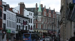 Busy traditional English city Stock Footage