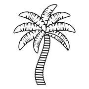 Palm tropical tree isolated icon Stock Illustration