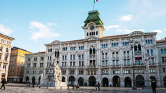 Hyperlapse of Town Hall in Trieste, Italy Stock Footage