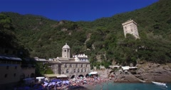 The Abbey of San Fruttuoso in the bay of Camogli. Stock Footage