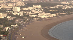 General view of city and beach of Agadir Stock Footage