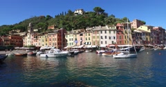 The italian village and vacation resort of Portofino. Stock Footage